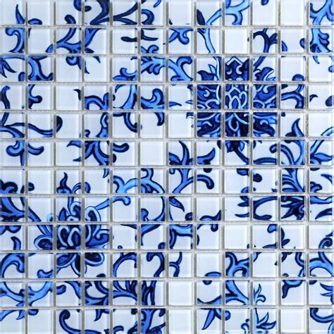 Crystal Glass Tile Blue White Puzzle Mosaic Tile Crackle Interiors Inside Ideas Interiors design about Everything [magnanprojects.com]