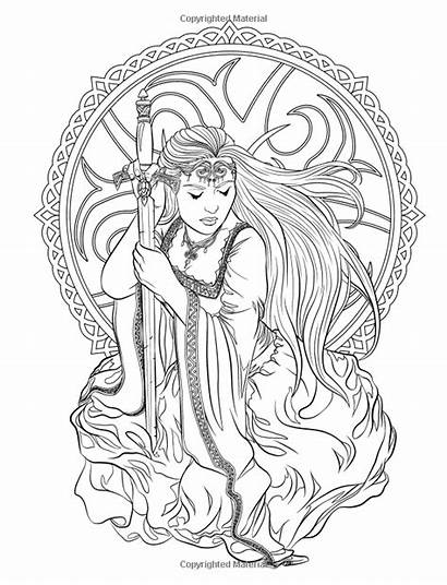 Gothic Coloring Pages Adult Fantasy Books Dark
