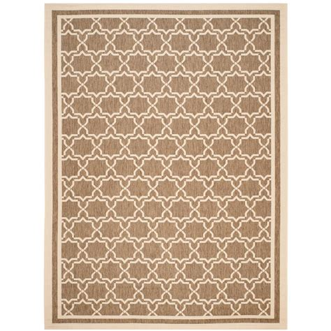 9 X 9 Outdoor Rug by Safavieh Courtyard Brown Bone 9 Ft X 12 Ft Indoor