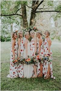Floral bridesmaid dresses are the latest trend in wedding for Floral dresses for wedding