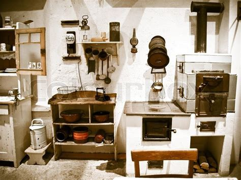 Old, historical Kitchen equipment and utensils   Stock