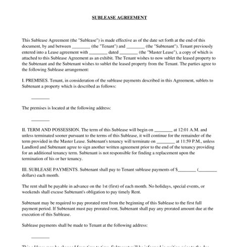 Sublease Agreement Template Sublease Agreement Free Template Word Pdf