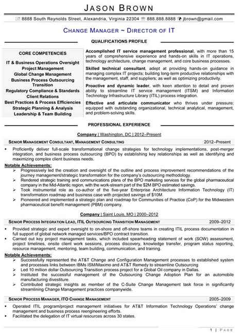 Change Manager Resume Format information technology resume exles