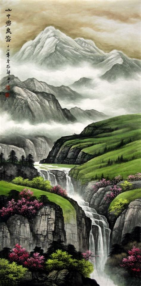 chinese painting mountains  waterfall chinese painting cnag artisoocom