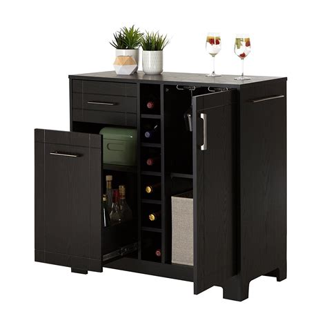 south shore vietti bar cabinet  bottle  glass storage black oak gift guide