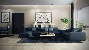 idee decoration salon canape bleu With idee deco salon design