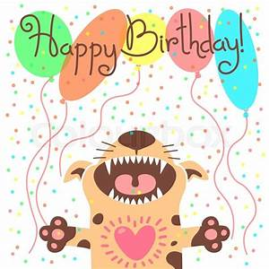Cute happy birthday card with funny puppy. Vector ...