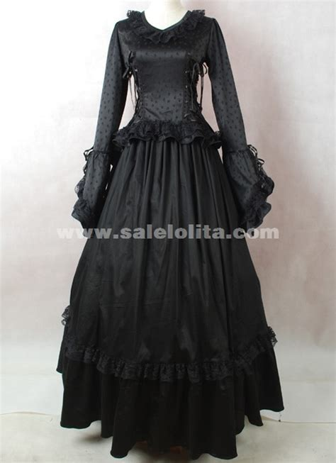 brand  black long sleeves cotton halloween victorian