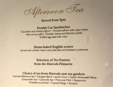 high tea menu high tea at harrods cocorose london