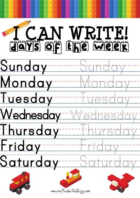 write days   week months   year alphabet