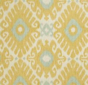 Aqua and Yellow Linen Ikat Upholstery Fabric for Furniture