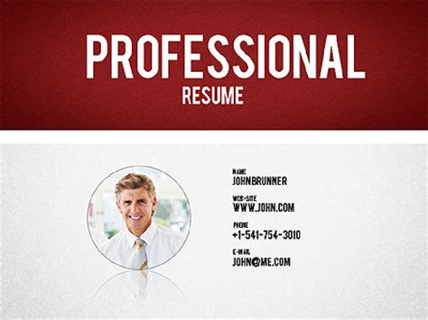 professional resume template for presentations in
