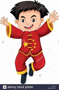 Chinese boy in traditional costume illustration Stock ...