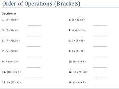 bodmas images worksheets order  operations