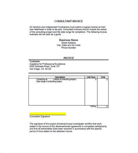 Training Course Invoice Template by Consulting Consultant Invoice Template 7 Free Sle