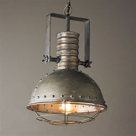 Industrial Caged Pendant with Rivets   Shades of Light