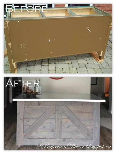 IKEA Hack Rustic Bar with Galvanized Metal Top