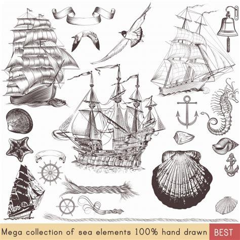 Sailing Boat Elements by Vintage Sailing Elements Collection Vector Premium Download
