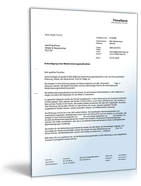 vermieterbescheinigung haus und grund ank 252 ndigung modernisierungsma 223 nahmen de musterbrief