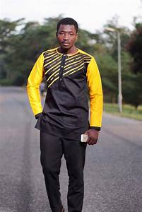 Items similar to Yellow u0026 Black Mens African Wear with Embroidery;African Clothing;Mens Africa ...