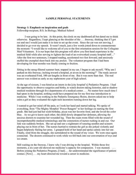 personal statement examples bio letter format