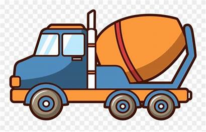 Mixer Truck Concrete Cartoon Clipart Cement Engineering