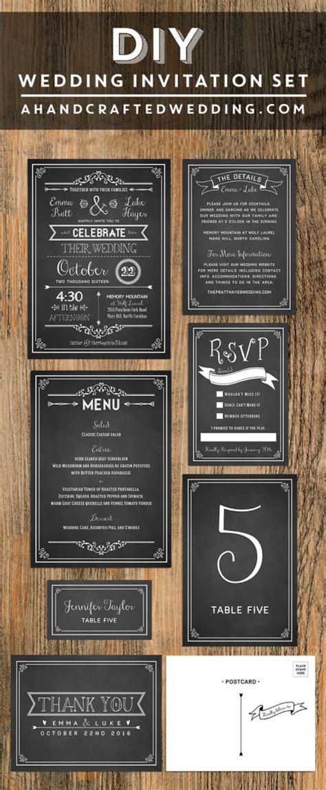 Printable Rustic Chalkboard Wedding Invitation Set Free