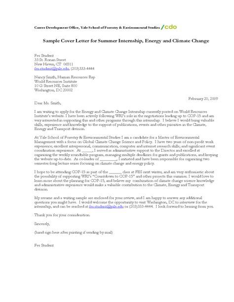 sle cover letter for summer internship energy and