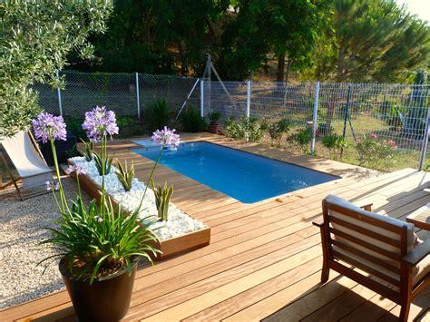 piscine avec terrasse en bois essence cumaru jardiniere