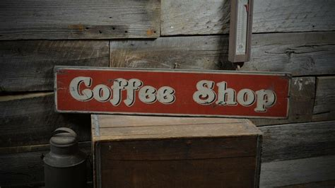 Distressed Coffee Shop Sign Primitive Rustic Hand Made