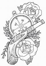 Coloring Pages Rose Compass Tattoos Trendy sketch template