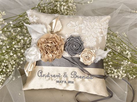 chagne vintage ring pillow wedding pillow lace ring