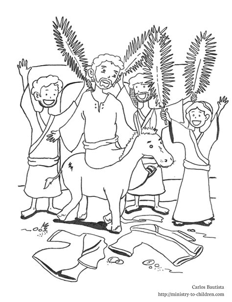 Jesus Enters On A Donkey Coloring Page Coloring Pages