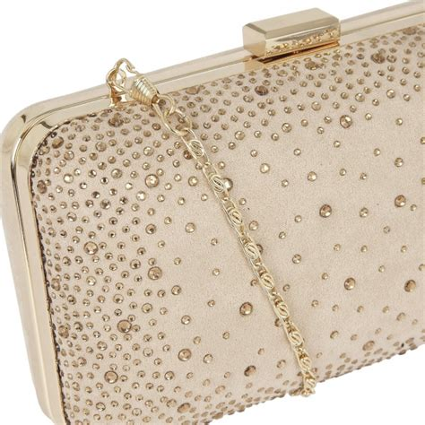 Lule Nude Microfibre Diamante Clutch Bag