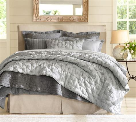 Pottery Barn Grey Bedding by Isabelle Tufted Voile Quilt Shams Pottery Barn In Gray