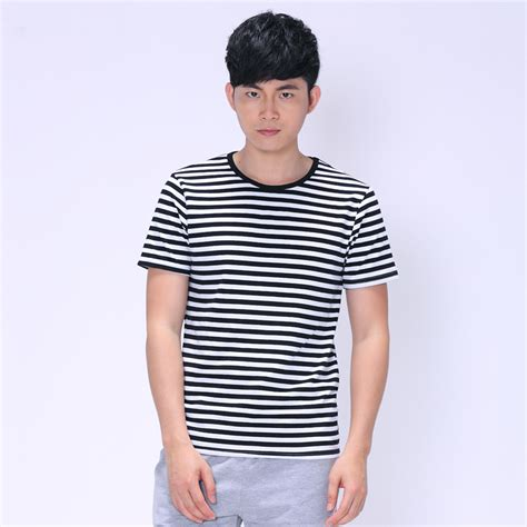 Men T Shirts Fashion 2015 Marine Style Striped T Shirt Casual Navy blue Red Black and white ...