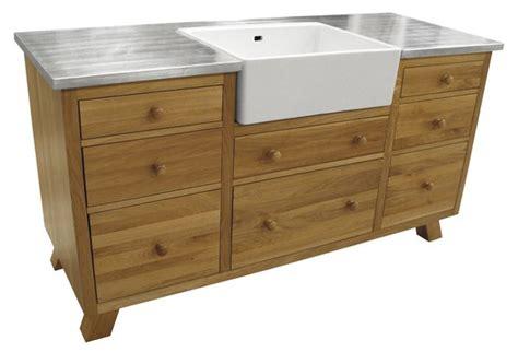 meuble cuisine chene massif acheter meuble évier en chêne zinc pieds compas