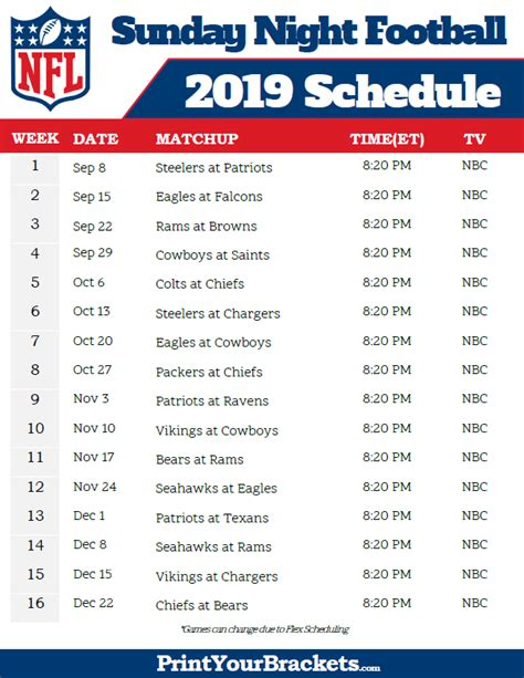 nfl sunday night football schedule  printable