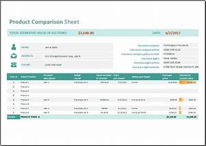 Product Comparison Sheet Template for MS Excel | Word ...