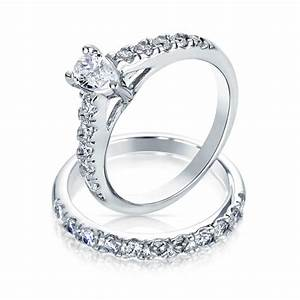 Pear shaped cz sterling silver engagement wedding ring set for Wedding ring engagement ring set