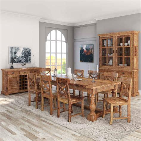 britain rustic teak wood trestle base  piece dining room set