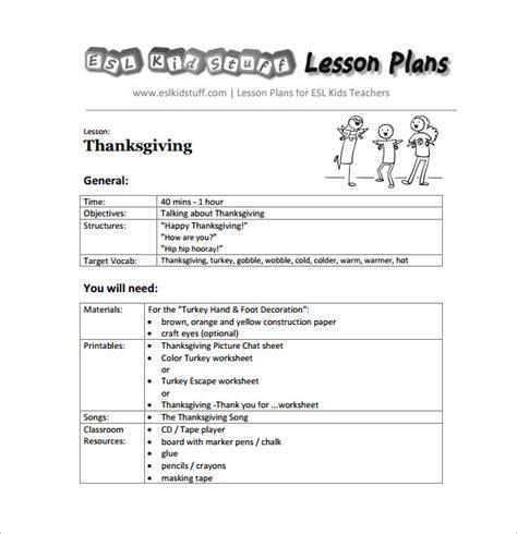11 kindergarten lesson plan template pdf doc free 853 | Thanks Giving Lesson Plan Kindergarten Free PDF Template