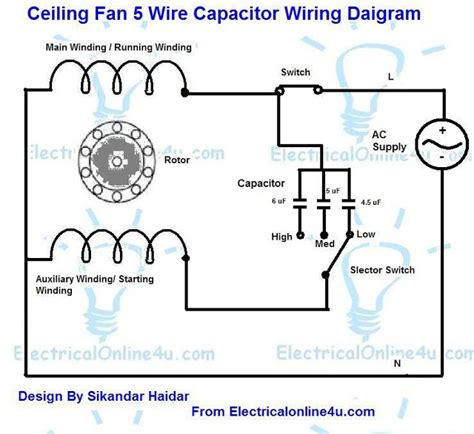 wiring a ceiling fan with 4 wires 5 wire ceiling fan capacitor wiring diagram electrical