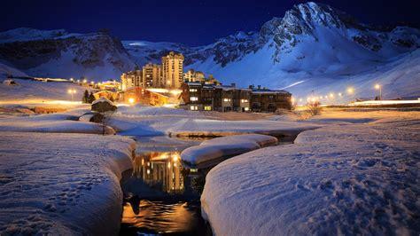 luxury ski resort at in tignes hd wallpaper