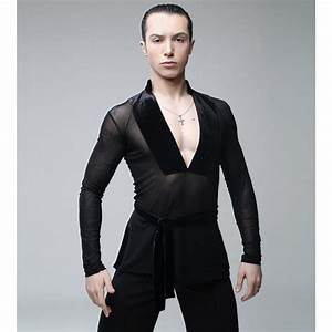 Male Latin Dance Shirts Deep V-Neck Collar Ballroom Black Dance Tops Sexy Men Latino Gauze ...
