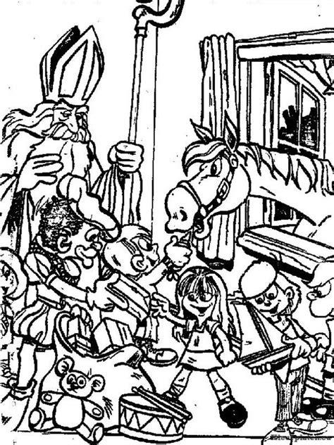 Kleurplaat Sinterklaas Moelijk by Kinderen Met De Staf Sinterklaas Kleurplaat