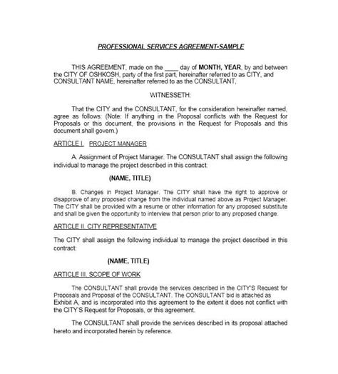 professional service agreement templates contracts
