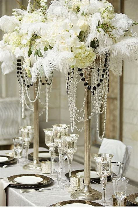 40 great gatsby wedding centerpieces ideas 34 Feather