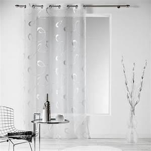 Voilage Blanc Et Gris : voilage 140 x h240 cm infinity blanc voilage eminza ~ Teatrodelosmanantiales.com Idées de Décoration