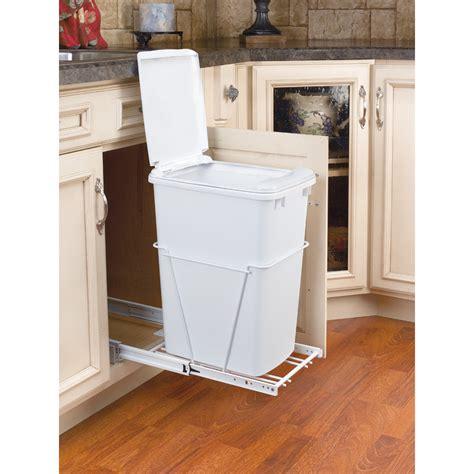 kitchen cabinet trash bin shop rev a shelf 35 quart plastic pull out trash can at 5838